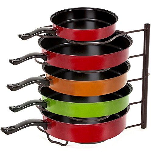 SONGMICS Pan Organizer Rack Holder for Kitchen Cabinet Pantry Frying Pan Skillet Storage Brown UKPR01K