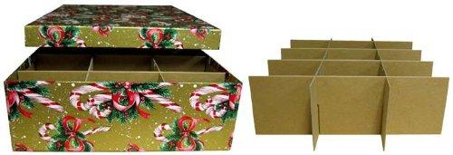Single Layer Candy Cane Christmas Ornament Storage Box Y3B