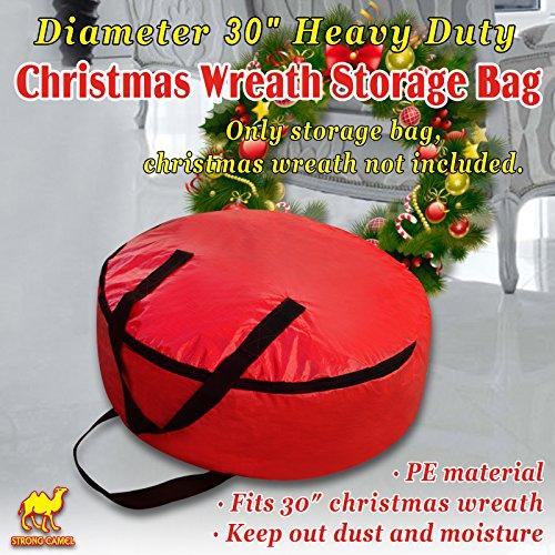 Strong Camel Heavy Duty Christmas Wreath Storage Bag For 30-Inch Wreaths