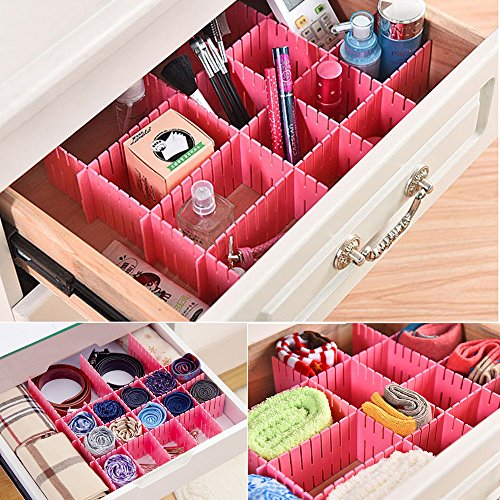 8 Pcs Plastic DIY Grid Drawer Divider Household Necessities Storage Thickening Housing Spacer Sub-grid Finishing Shelves for Home Tidy Closet Stationary Makeup Socks Underwear Scarves Organizer pink