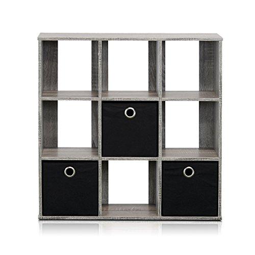 Furinno 13207GYBK Simplistic 9-Cube Organizer with Bins French Oak GreyBlack