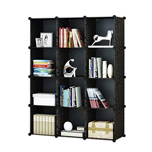 KOUSI 12-Cube Modular DIY Storage Cube Organizer 4 tier Shelving Bookcase Cabinet Closet Black