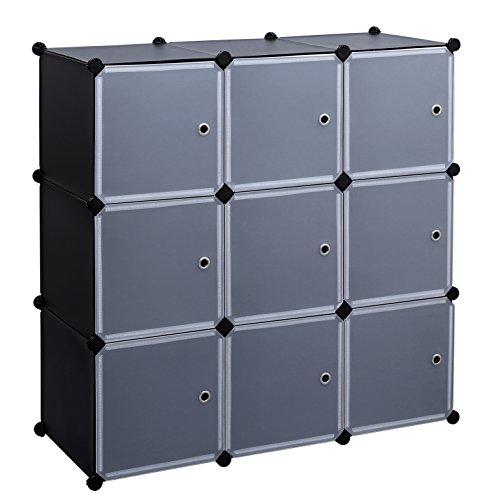 SONGMICS 3-Tier DIY Storage Cube Organizer Closet 9-Cube Bookcase Cabinet with Door ULPC33H