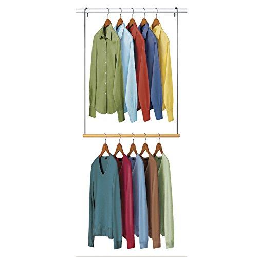Lynk Double Hang Closet Rod Organizer - Clothing Hanging Bar - ChromeWood