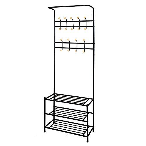 TopHomer Coat Rack with 18 Hooks 3 Tiers Shoe Rack Storage Bench Shelf Hanging Bar Hat Clothes Hanger for Entryway Bedroom Black