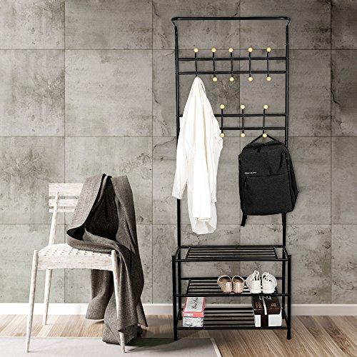 TopHomer Coat Garment Racks 18 Hooks Hat Clothes Bar Hanger With 3 Tiers Shoe Storage Bench Shelf for Entryway Bedroom Black