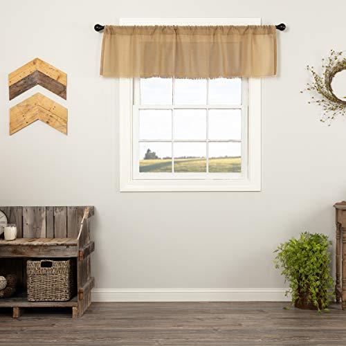 VHC Brands Farmhouse Kitchen Curtains Tobacco Cloth Rod Pocket Cotton Sheer Solid Color 16x60 Valance Khaki Tan