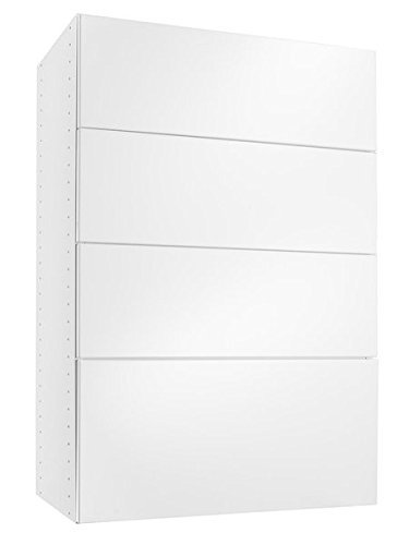 Modular Closets Solid Wood Wall Mountable 4 Drawer 14 in Depth Drawer System For Closet Office - White 18 Wide