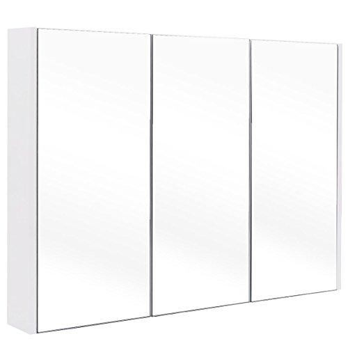 Tangkula 36 Wide Wall Mount Mirrored Bathroom Medicine Cabinet Storage 3 Mirror Door