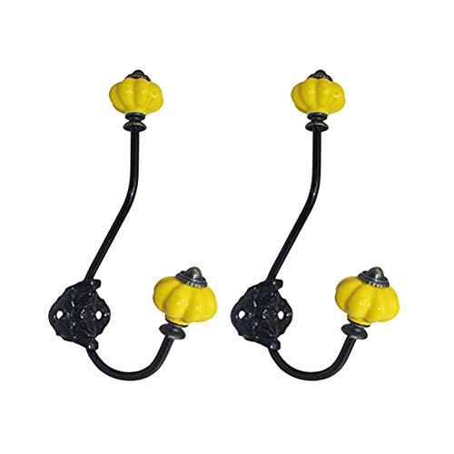 Cabilock Coat Hooks 2 pcs Three-Dimensional Pumpkin Head Ceramic Handle Wire Coat Hook for Home Random Color