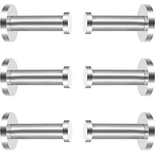 6 Pieces Stainless Steel Wall-Mount Robe Hook Coat Hook Towel Wall Hook Brushed Nickel 2 Inch Silver