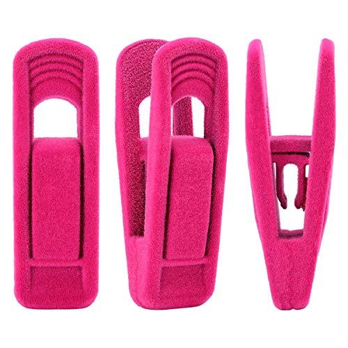Trgowaul Hot Pink Velvet Hangers Clips 20 pc Pants Hangers Velvet Clips Strong Finger Clips Perfect for Thin Velvet Hangers