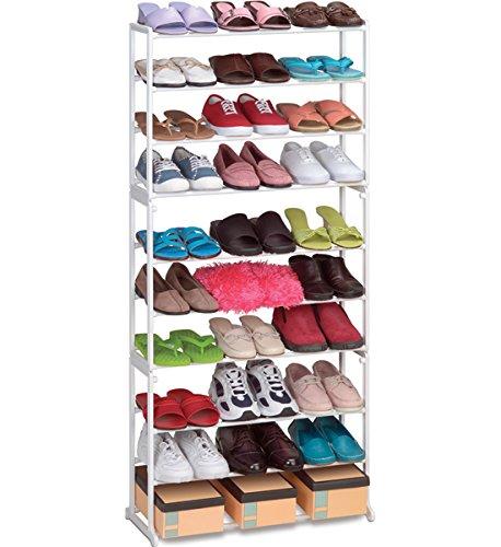 30 Pair Stacking Metal Plastic Shoe Rack White 565 H x 10 W x 225 L