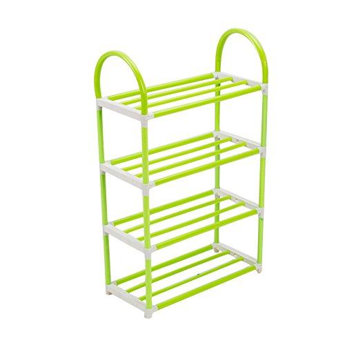 Topbeu 4 Tiers Portable Plastic Shoe rack Detachable Shoe Shelf Storage Organizer Green