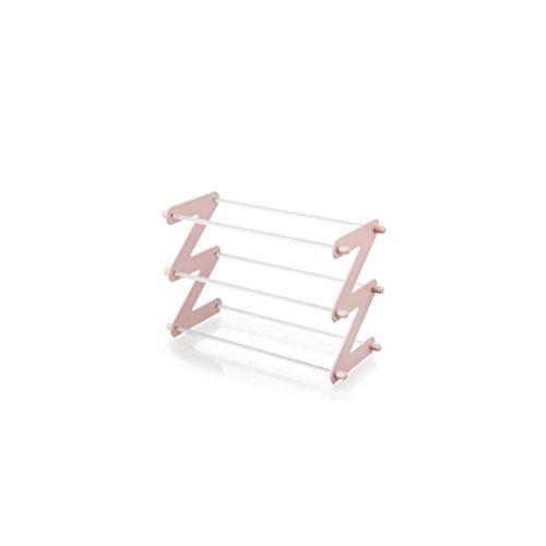 ZI LIN SHOP- Creative Plain Multi-layer Plastic Shoe Rack Multi-functional Assembly Shoe Rack Home Living Room Simple Shoe Cover Shoe rack  Color  Pink  Size  M