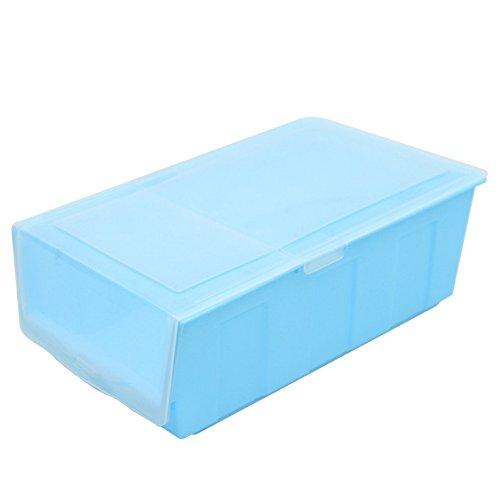 Auphi Dustproof Plastic Flip Thickening Shoe Storage Box Organizer Containerblue