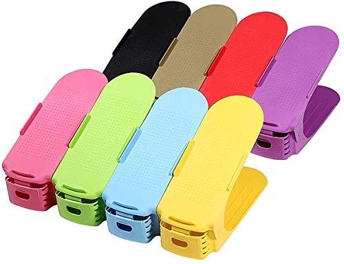 Aegilmc Adjustable Shoe Shelves 10 Shoe Slots Adjustable Shoe Shoe Rack Stacker Set Height Adjustable Shoe Organizer Plastic Shoe OrganizerBurst