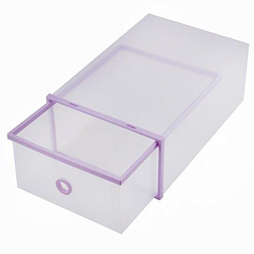 Purple Plastic Shoe Organizer Drawer Stacking Drawer Storage Boxes Foldable Shoe Box Organizer Shoe Storage Bag Box Double Plastic for HomeBed RoomOffice