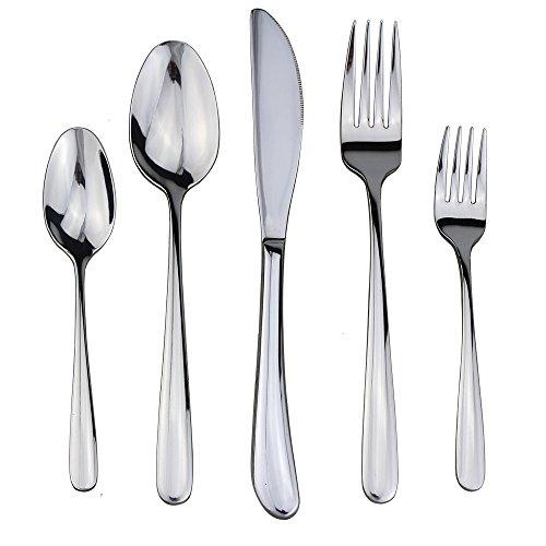 Dealight Flatware Set 1810 Stainless Steel Silverware 5-Piece Mirror Polished Kitchen Tableware Service for 1