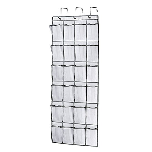 Brotrade 24 Mesh Pockets Over the Door Hanging Shoe OrganizerHeavy Duty Door Shoe Rack with 3 Steel Door Hooks White