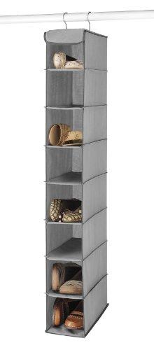 Whitmor Hanging Shoe Shelves-Grey 8 Open Shelves