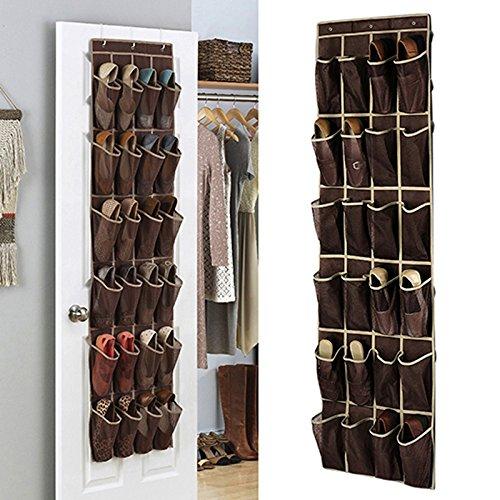24 Pocket Door Hanging Shoe Organizer Bag Storage Holder Rack Wardrobe Hook Bedroom Household Accessories