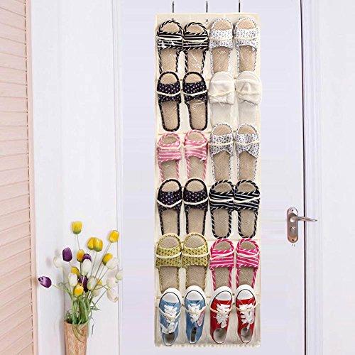 Enjoydeal Shoe Storage Organizer-25 Pocket Foldable Hanging Over The Door Holder Beige