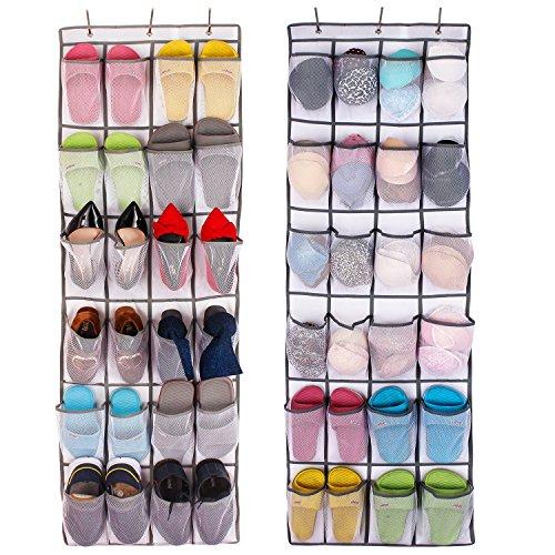 Shoe Organizer Over the Door 24 -Pocket Hanging Shoe Rack Door Shelf Hanger Holder Storage Bag White Mesh