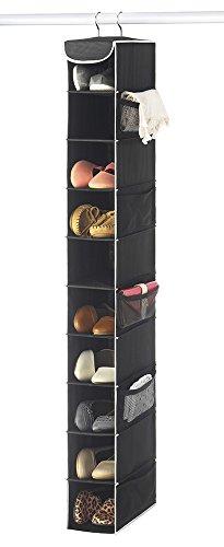 Zober 10-Shelf Hanging Shoe Organizer Shoe Holder for Closet - 10 Mesh Pockets for Accessories - Breathable Polypropylene Black - 5  x 10  x 54