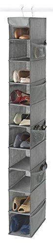 Zober 10-Shelf Hanging Shoe Organizer Shoe Holder for Closet - 10 Mesh Pockets for Accessories - Breathable Polypropylene Gray - 5  x 10  x 54