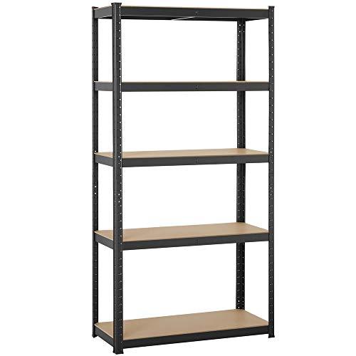 Topeakmart Adjustable 5-Shelf Garage Shelves Metal Storage Rack Shelving Unit Display Rack 71 Inches Height Black