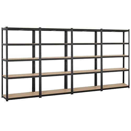 Topeakmart Adjustable 5-Shelf Garage Shelves Metal Storage Rack Shelving Unit Display Rack 71in Height 4 Packs