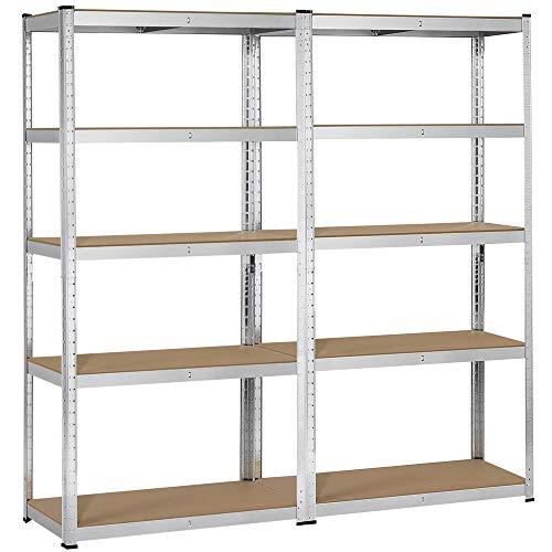 Yaheetech Heavy Duty Adjustable 5-Shelf Garage Shelving Storage Shelf Steel Shelving Units Utility Rack for HomeOfficeDormitoryGarage 2 Packs