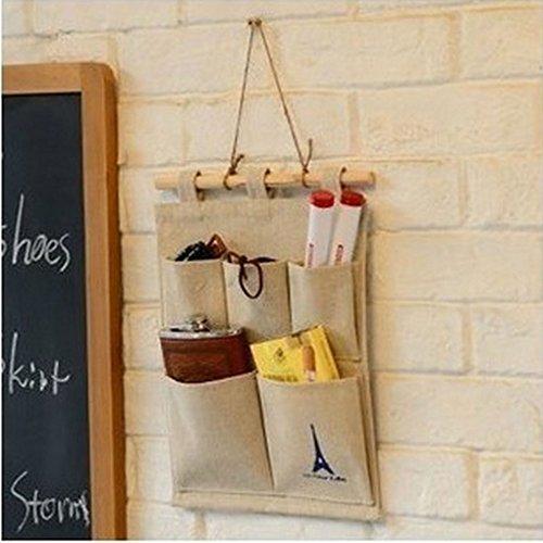 CAZ CottonLinen Fabric Wall Door Closet Hanging Organizer 5 Pockets Door Hanging Storage Bag
