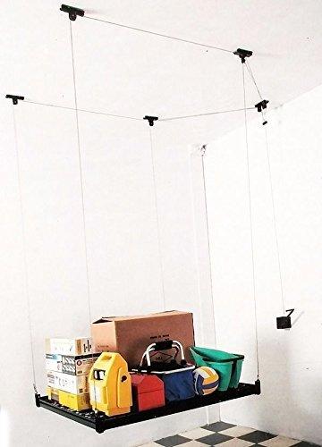 4FT x 4FT Celling Mounted Rack Garage Storage Rack hand Hoist Shelves Ceiling shelf