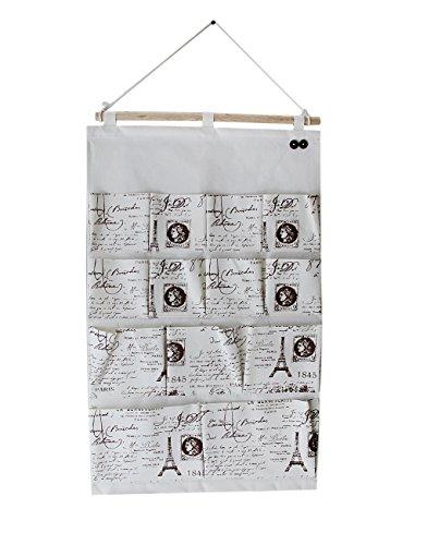 BXT Heavy-duty Linen Cotton Multilayer 13 Pockets Large Over the Door Wall Closet Wardrobe Hanging Storage Shelf Bag Jewelry Underwear Socks Holder Dorm Home Tidy Rack Space Saver Organizer Decor