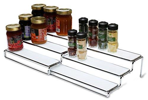 DecoBros 3 Tier Expandable Cabinet Spice Rack Step Shelf Organizer 125~25 Inch Chrome