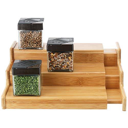 SleekDine Spice Rack Organizer For Cabinet - 3 Tiered Spice Organizer Adjustable Spice Rack - Spice Shelf Adjustable Spice Racks For Cabinets - Wooden Expandable Spice Rack Organizer