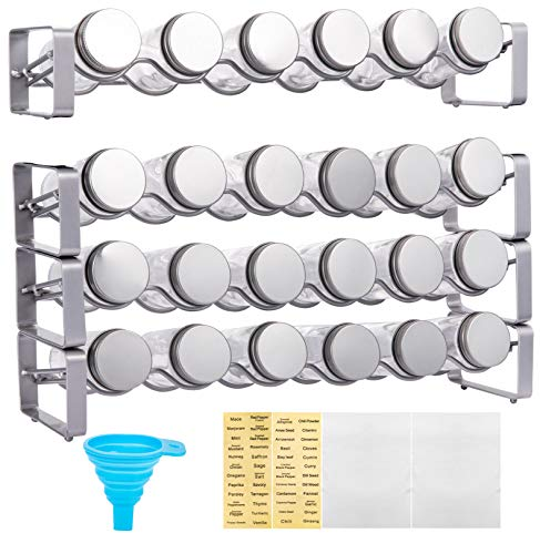 Spice Rack with 24 Empty Round Spice Jars Drawer Organizer for Kitchen Cabinet Drawers Metal Lid and Blank Chalkboard Label Set for Countertops Cabinets Kitchen Pantry Silver