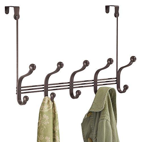 mDesign Over the Door 10-Hook Rack for Coats Hats Robes Towels - Bronze