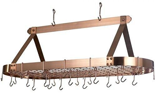 Old Dutch 48 x 19 x 155 Oval Satin Copper Pot Rack 24 Hooks