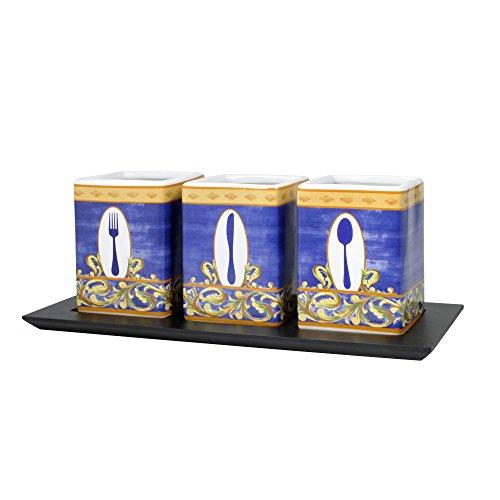 Pfaltzgraff Villa Della Luna 3-Piece Ceramic Flatware Caddy with Wood Tray