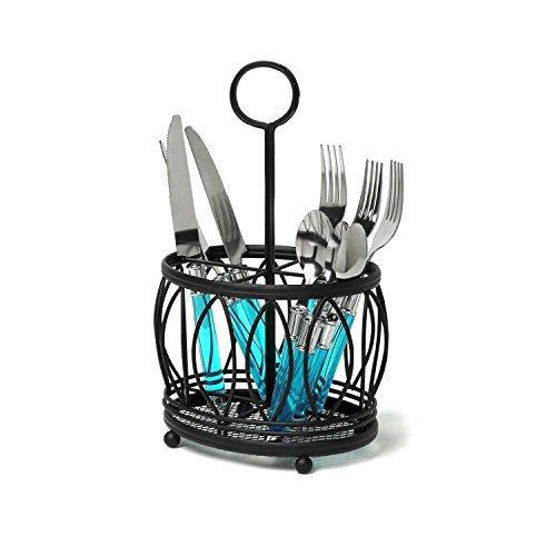 VANRA Metal Flatware Caddy Silverware Caddy Utensil Holder Stand Cutlery Storage Organizer with Loop Handle Black