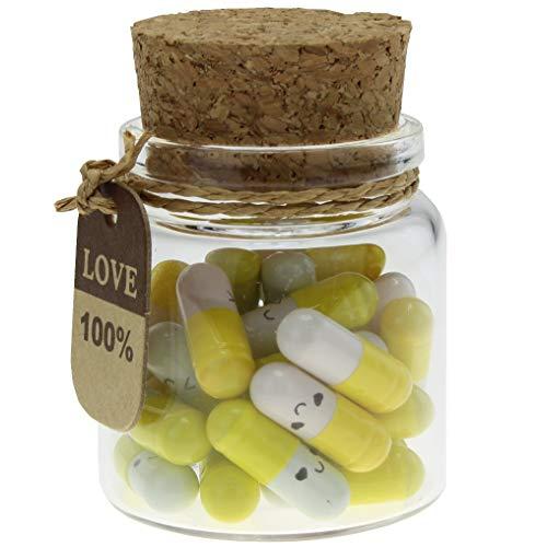 INFMETRY Capsule Letters Message in a Bottle Glass Favor Bottle Yellow