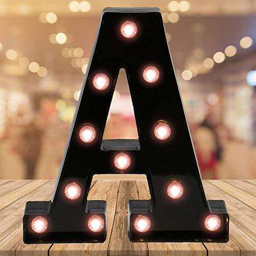 Oycbuzo Light up Letters LED Letter Black Alphabet Letter Night Lights for Home Bar Festival Birthday Party Wedding Decorative Hletter-A