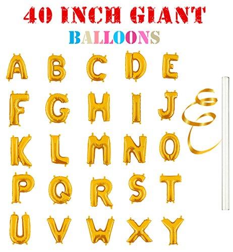 Rose&Wood 40 Single Gold Alphabet Letter Balloons Aluminum Hanging Foil Film Balloon Mylar Balloons 40 Letter A