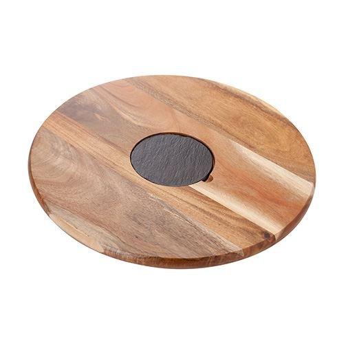 Judge Slate and Acacia Wood Lazy Suzan Rotating Board 14 x 14 inches