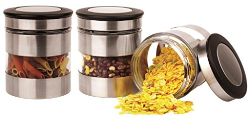 Home Fashions 3 Piece Kitchen Canisters Glass and Stainless Steel Lids Storage Jar Set Silver