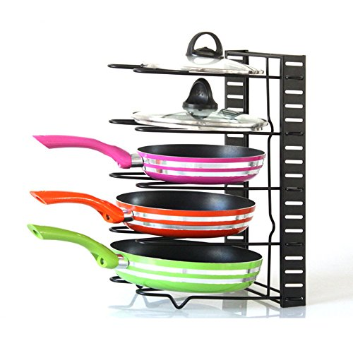 Amanda Home Pan Organizer Rack Foldable 5 Pot Rack for Kitchen Pots and Lids 83 x 18 x 15 - inches
