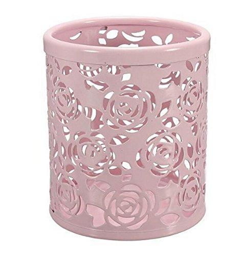 Junson Rose Flower Pattern Metal Pen Pencil Pot Holder Organizer 10x9cm